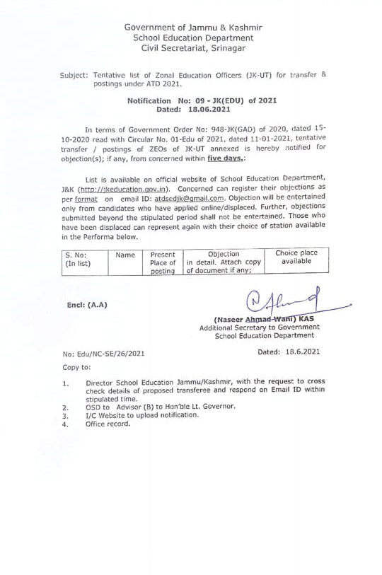Tentative list of Zonal Education officers(JKUT) for Transfer and postings under ATD 2021